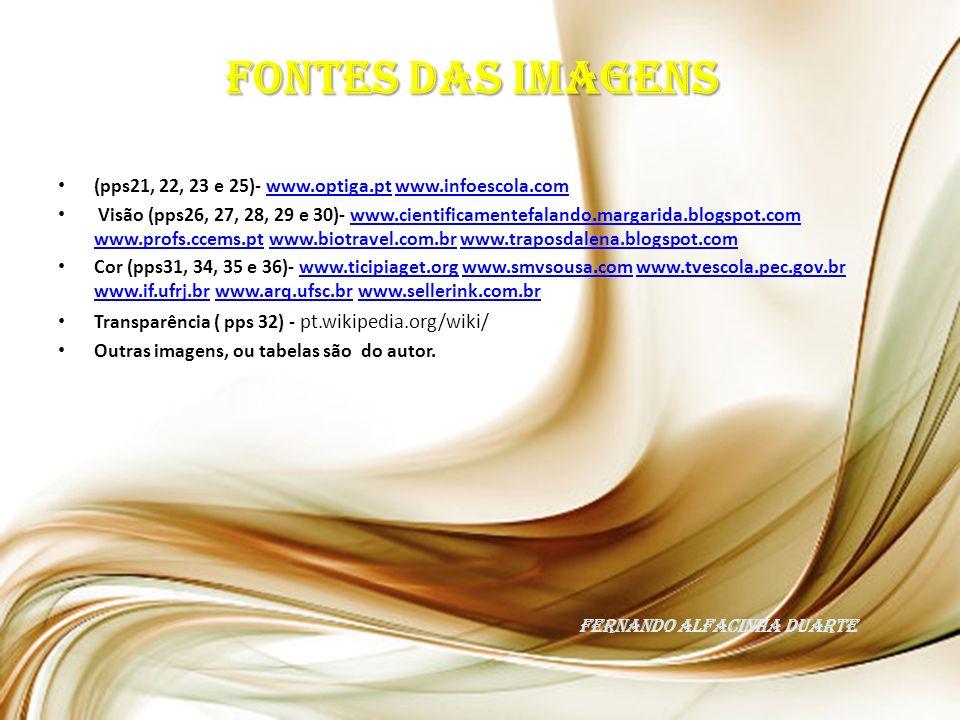 (pps21, 22, 23 e 25)- www.optiga.pt www.infoescola.comwww.optiga.ptwww.infoescola.com Visão (pps26, 27, 28, 29 e 30)- www.cientificamentefalando.margarida.blogspot.com www.profs.ccems.pt www.biotravel.com.br www.traposdalena.blogspot.comwww.cientificamentefalando.margarida.blogspot.com www.profs.ccems.ptwww.biotravel.com.brwww.traposdalena.blogspot.com Cor (pps31, 34, 35 e 36)- www.ticipiaget.org www.smvsousa.com www.tvescola.pec.gov.br www.if.ufrj.br www.arq.ufsc.br www.sellerink.com.brwww.ticipiaget.orgwww.smvsousa.comwww.tvescola.pec.gov.br www.if.ufrj.brwww.arq.ufsc.brwww.sellerink.com.br Transparência ( pps 32) - pt.wikipedia.org/wiki/ Outras imagens, ou tabelas são do autor.