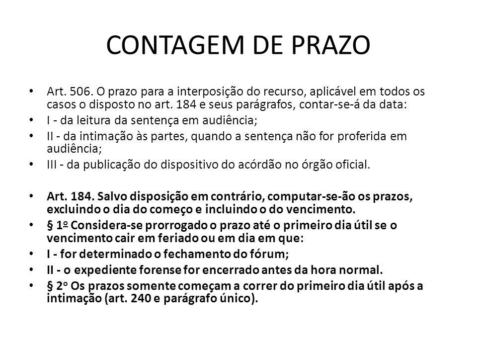 CONTAGEM DE PRAZO Art.506.