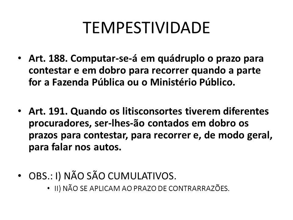 TEMPESTIVIDADE Art.188.