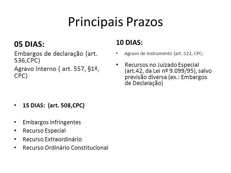 Principais Prazos 05 DIAS: Embargos de declaração (art. 536,CPC) Agravo Interno ( art. 557, §1º, CPC) 15 DIAS: (art. 508,CPC) Embargos infringentes Re