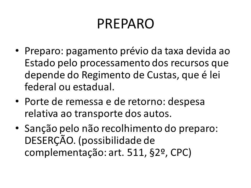 PREPARO Preparo: pagamento prévio da taxa devida ao Estado pelo processamento dos recursos que depende do Regimento de Custas, que é lei federal ou estadual.
