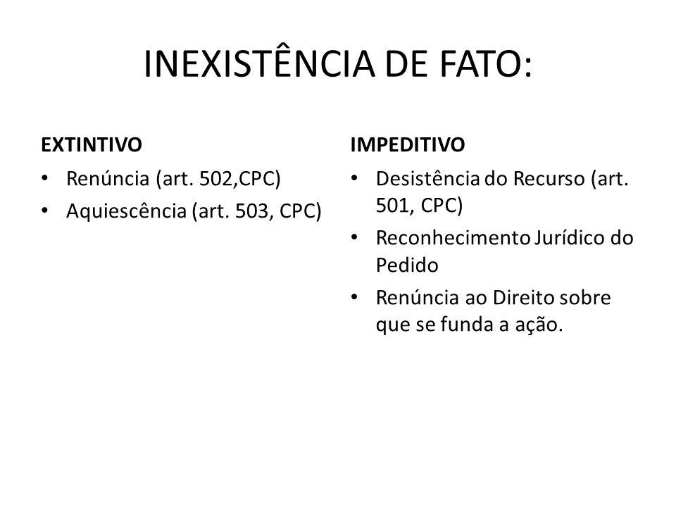 INEXISTÊNCIA DE FATO: EXTINTIVO Renúncia (art. 502,CPC) Aquiescência (art. 503, CPC) IMPEDITIVO Desistência do Recurso (art. 501, CPC) Reconhecimento