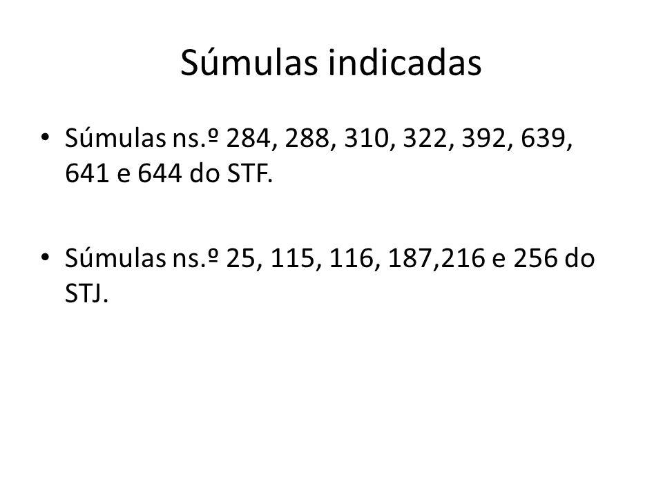 Súmulas indicadas Súmulas ns.º 284, 288, 310, 322, 392, 639, 641 e 644 do STF. Súmulas ns.º 25, 115, 116, 187,216 e 256 do STJ.