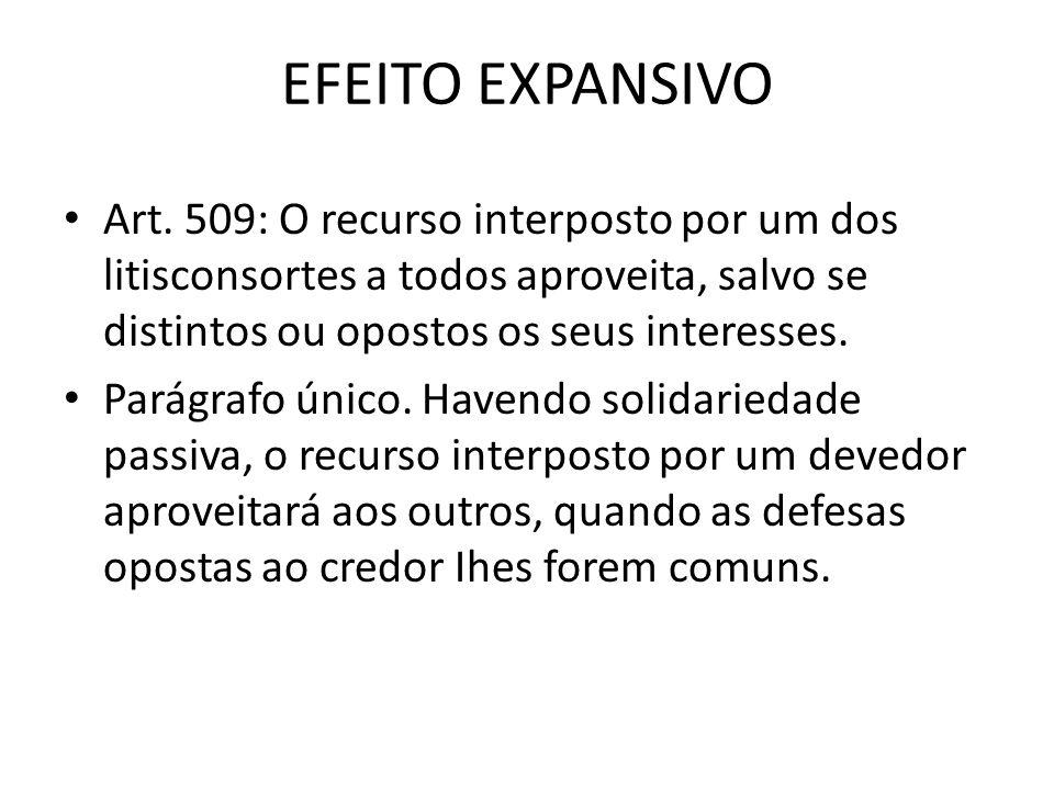 EFEITO EXPANSIVO Art. 509: O recurso interposto por um dos litisconsortes a todos aproveita, salvo se distintos ou opostos os seus interesses. Parágra