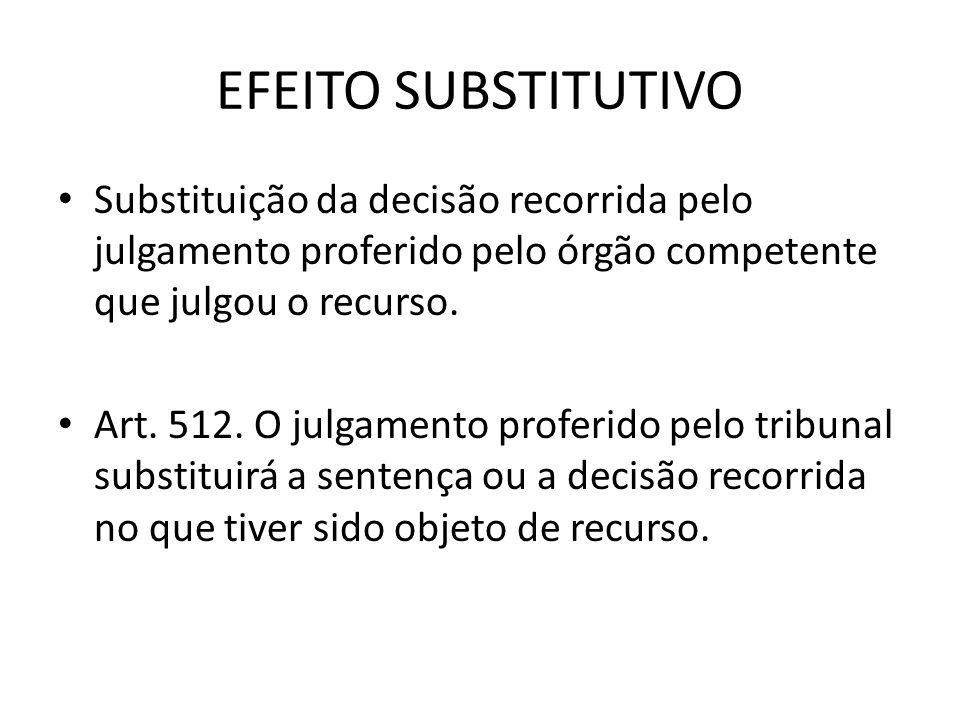 EFEITO SUBSTITUTIVO Substituição da decisão recorrida pelo julgamento proferido pelo órgão competente que julgou o recurso. Art. 512. O julgamento pro