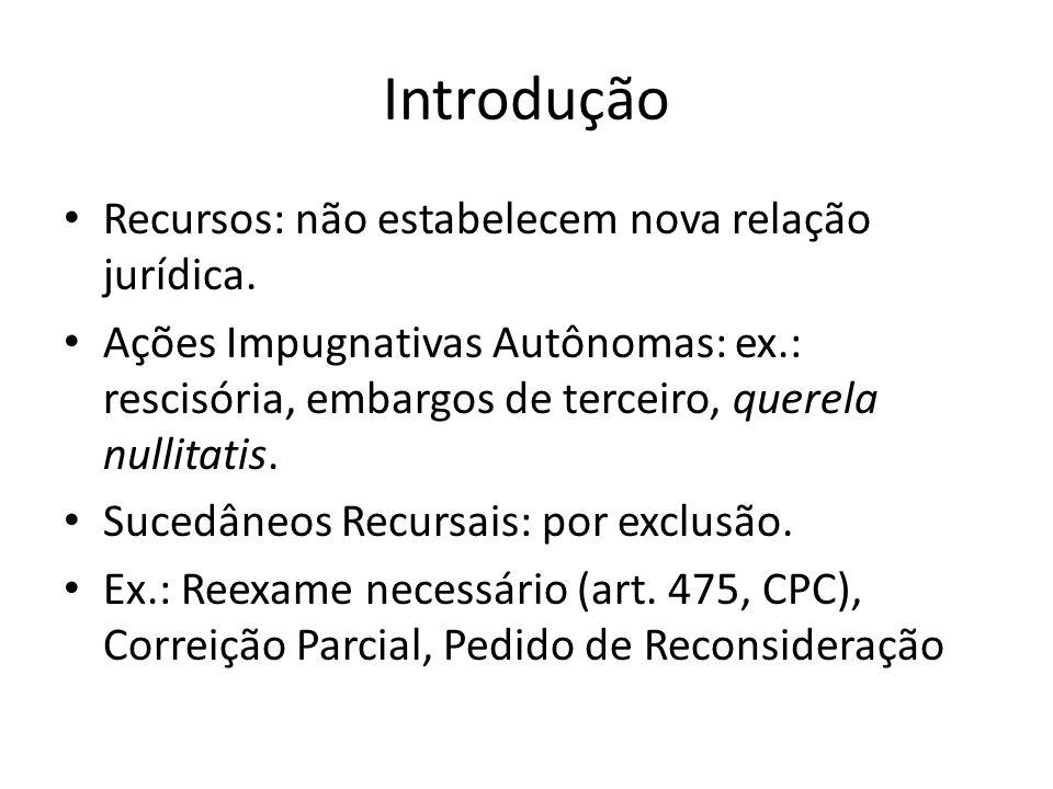 Introdução Recursos: não estabelecem nova relação jurídica. Ações Impugnativas Autônomas: ex.: rescisória, embargos de terceiro, querela nullitatis. S