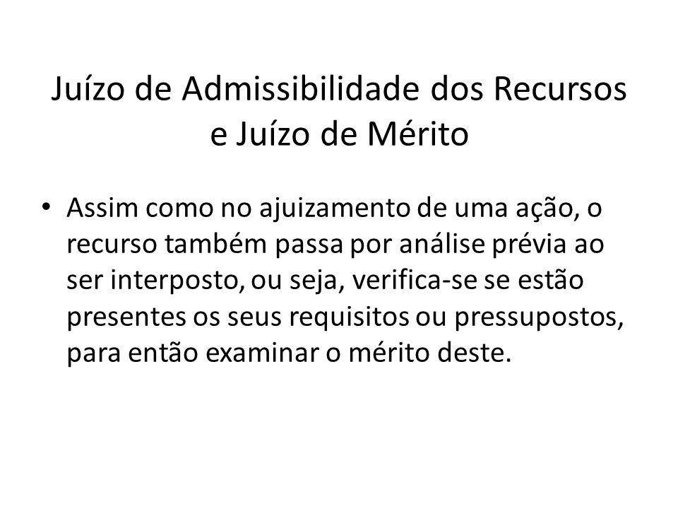 Juízo de Admissibilidade dos Recursos e Juízo de Mérito Assim como no ajuizamento de uma ação, o recurso também passa por análise prévia ao ser interp