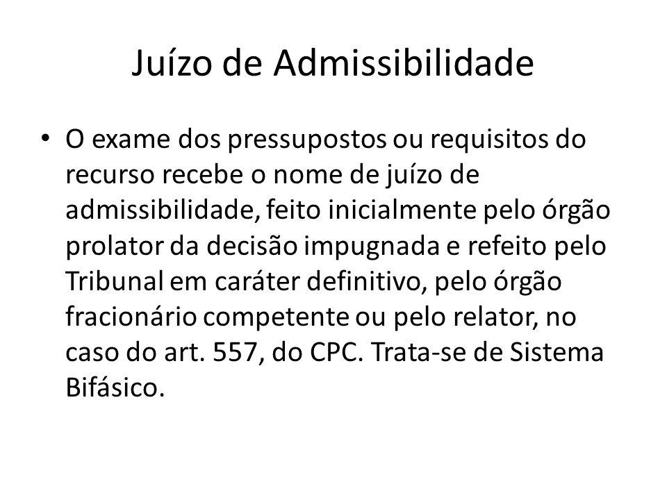 Juízo de Admissibilidade O exame dos pressupostos ou requisitos do recurso recebe o nome de juízo de admissibilidade, feito inicialmente pelo órgão pr