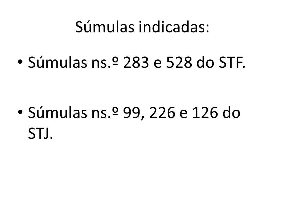 Súmulas indicadas: Súmulas ns.º 283 e 528 do STF. Súmulas ns.º 99, 226 e 126 do STJ.