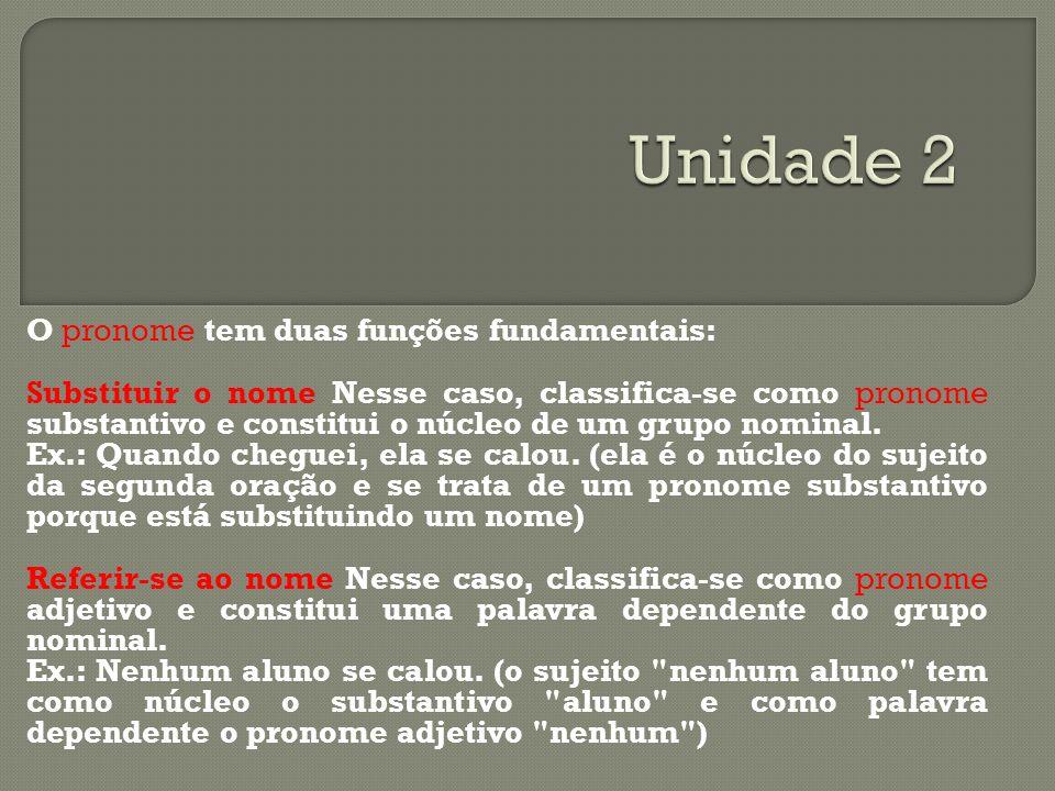 O pronome tem duas funções fundamentais: Substituir o nome Nesse caso, classifica-se como pronome substantivo e constitui o núcleo de um grupo nominal