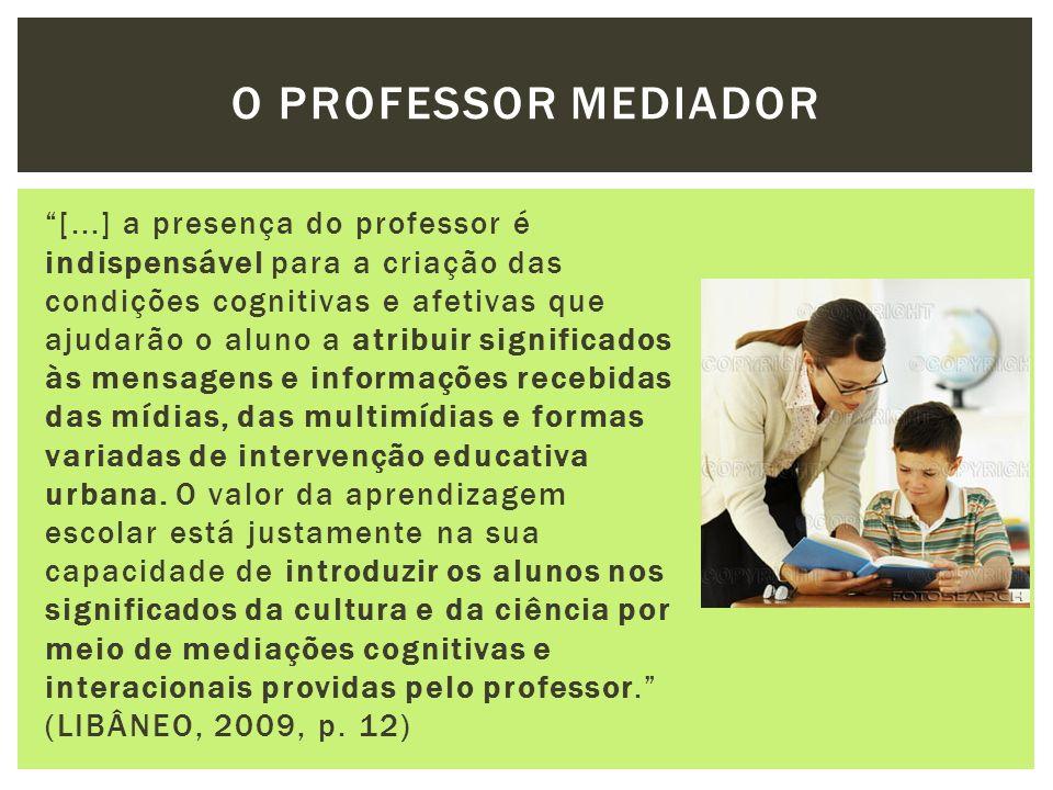 [...] a presença do professor é indispensável para a criação das condições cognitivas e afetivas que ajudarão o aluno a atribuir significados às mensa