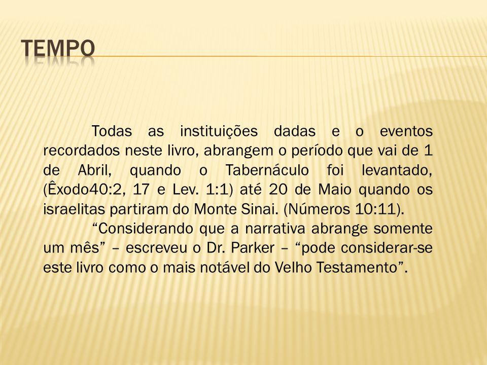 Todas as instituições dadas e o eventos recordados neste livro, abrangem o período que vai de 1 de Abril, quando o Tabernáculo foi levantado, (Êxodo40