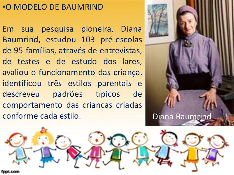 O MODELO DE BAUMRIND Em sua pesquisa pioneira, Diana Baumrind, estudou 103 pré-escolas de 95 famílias, através de entrevistas, de testes e de estudo d
