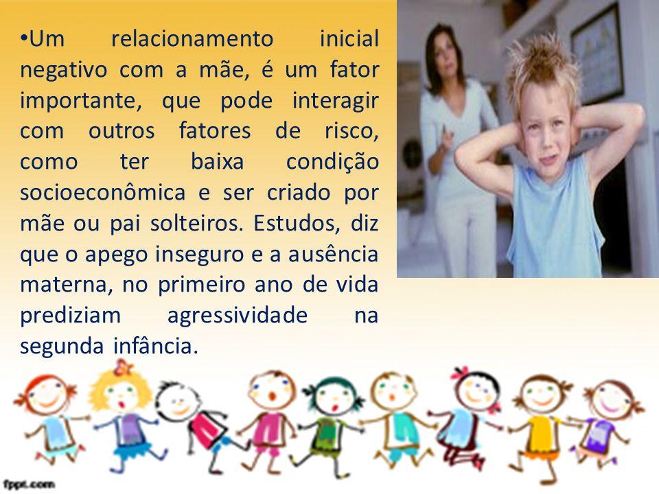 Um relacionamento inicial negativo com a mãe, é um fator importante, que pode interagir com outros fatores de risco, como ter baixa condição socioecon