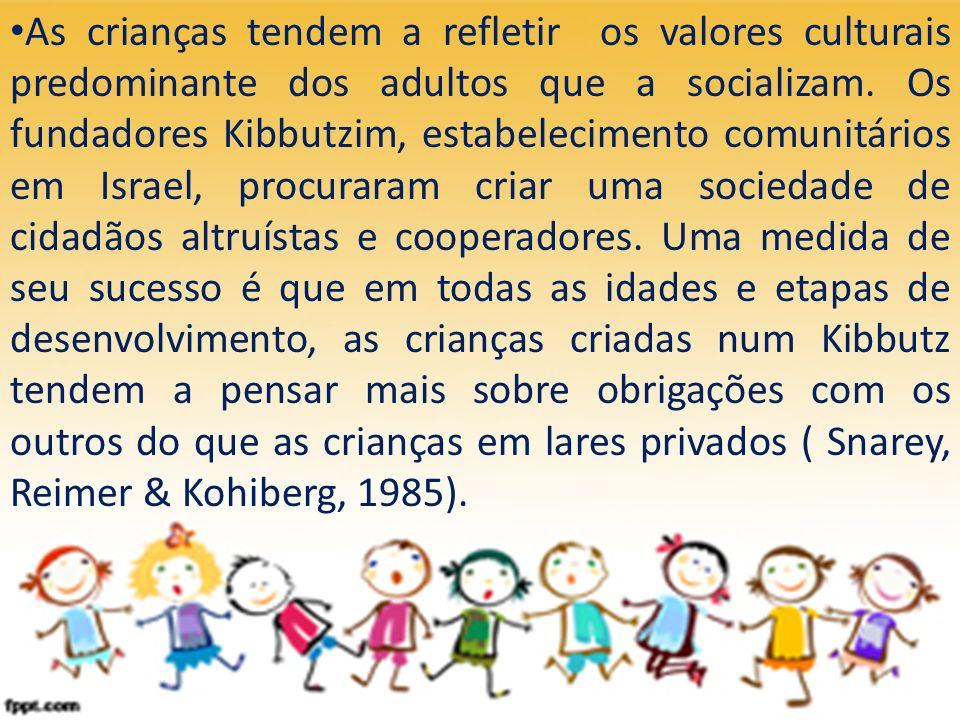 As crianças tendem a refletir os valores culturais predominante dos adultos que a socializam. Os fundadores Kibbutzim, estabelecimento comunitários em