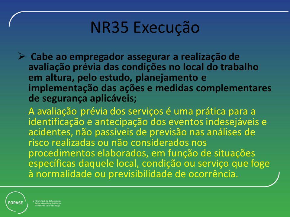 NR35 Execução Cabe ao empregador assegurar a realização de avaliação prévia das condições no local do trabalho em altura, pelo estudo, planejamento e