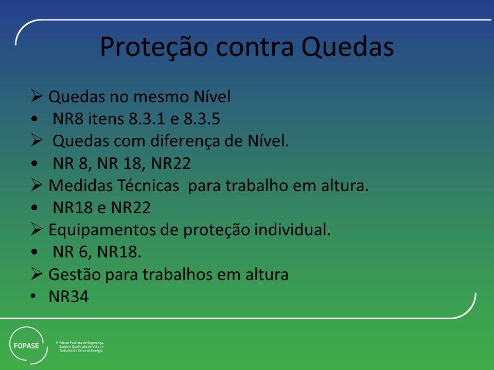 Proteção contra Quedas Quedas no mesmo Nível NR8 itens 8.3.1 e 8.3.5 Quedas com diferença de Nível. NR 8, NR 18, NR22 Medidas Técnicas para trabalho e