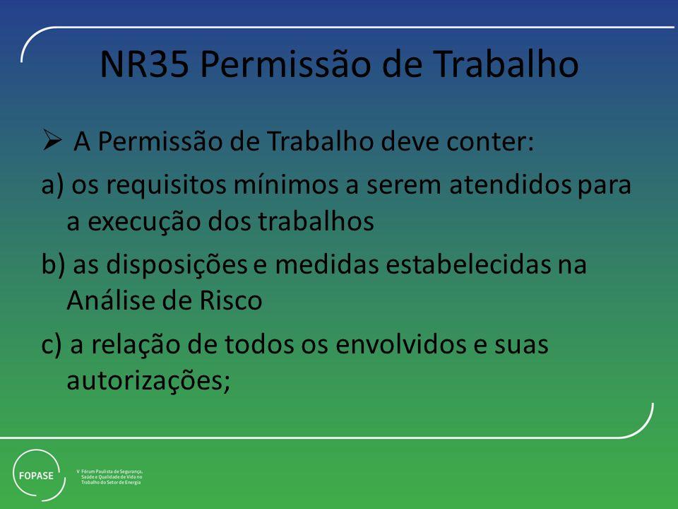 NR35 Permissão de Trabalho A Permissão de Trabalho deve conter: a) os requisitos mínimos a serem atendidos para a execução dos trabalhos b) as disposi