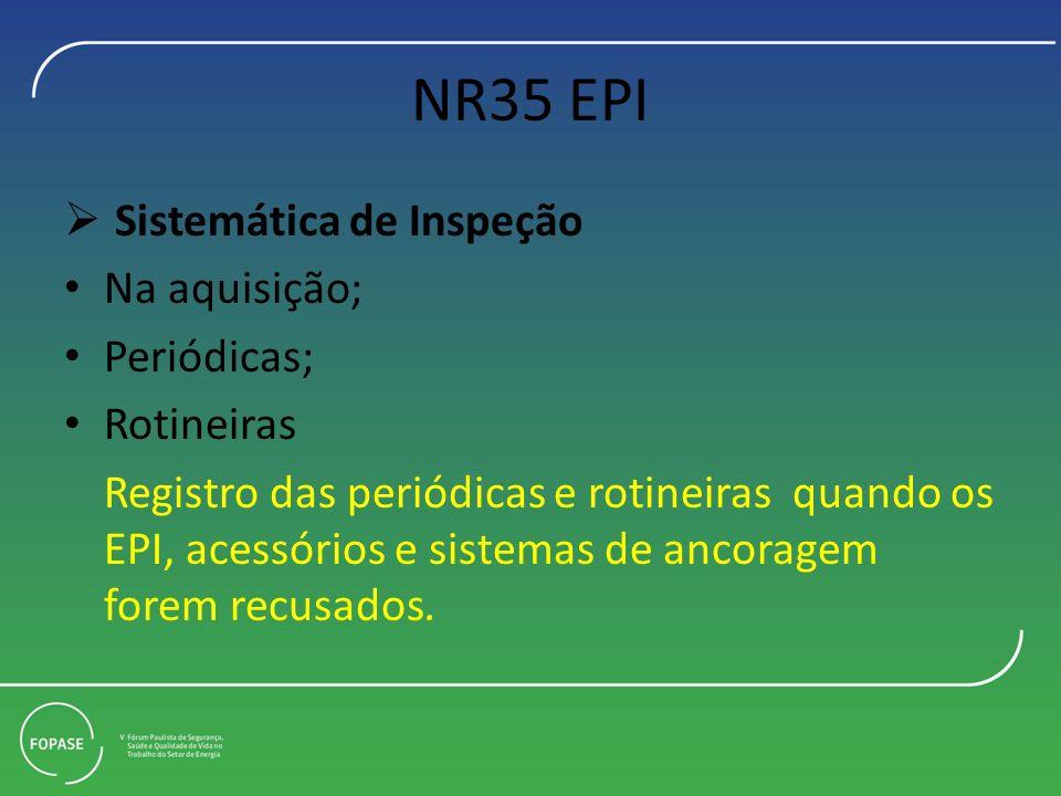 NR35 EPI Sistemática de Inspeção Na aquisição; Periódicas; Rotineiras Registro das periódicas e rotineiras quando os EPI, acessórios e sistemas de anc