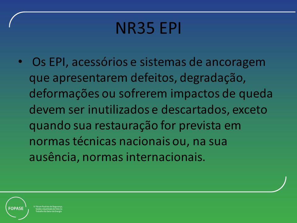 NR35 EPI Os EPI, acessórios e sistemas de ancoragem que apresentarem defeitos, degradação, deformações ou sofrerem impactos de queda devem ser inutili