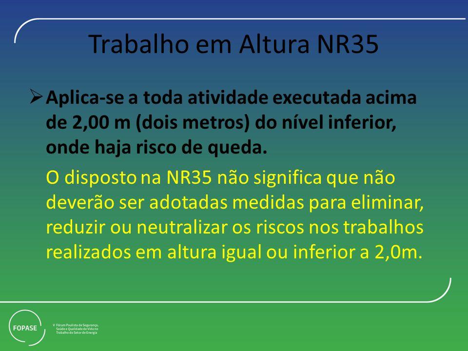 Trabalho em Altura NR35 Aplica-se a toda atividade executada acima de 2,00 m (dois metros) do nível inferior, onde haja risco de queda. O disposto na
