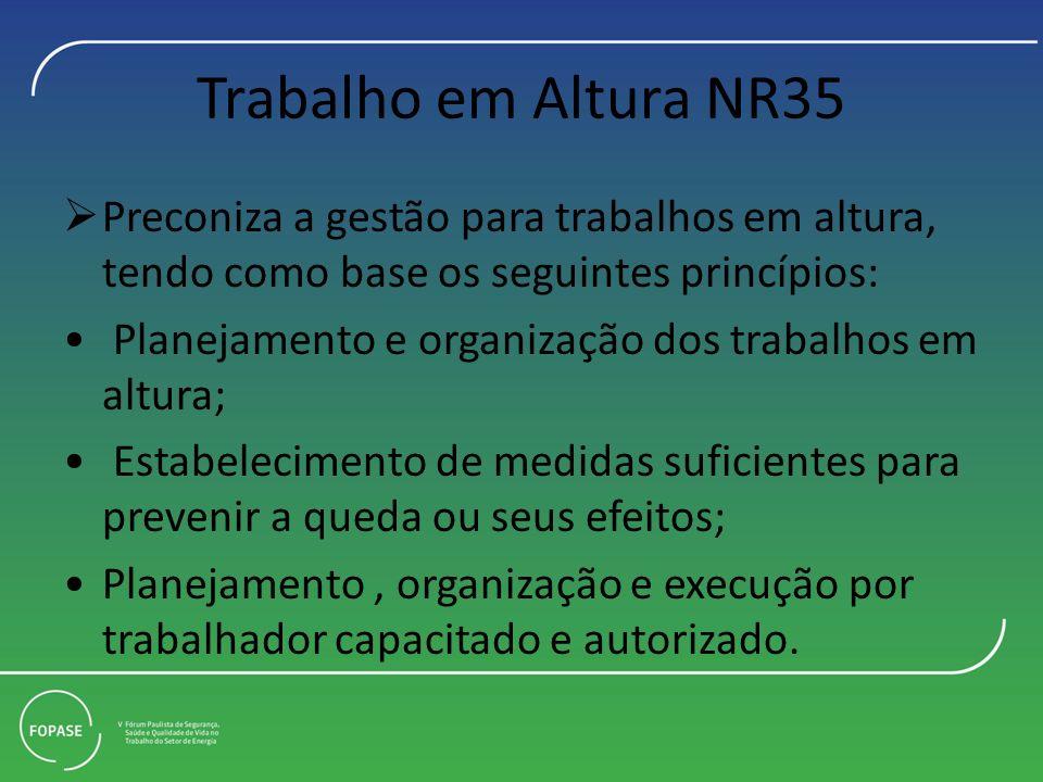 Trabalho em Altura NR35 Preconiza a gestão para trabalhos em altura, tendo como base os seguintes princípios: Planejamento e organização dos trabalhos