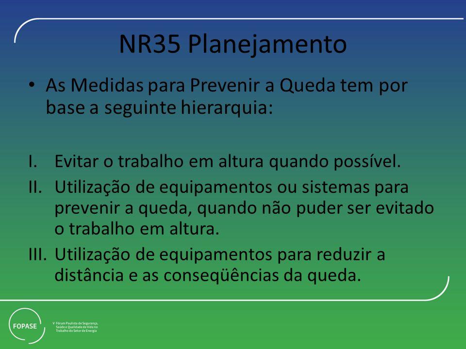 NR35 Planejamento As Medidas para Prevenir a Queda tem por base a seguinte hierarquia: I.Evitar o trabalho em altura quando possível. II.Utilização de