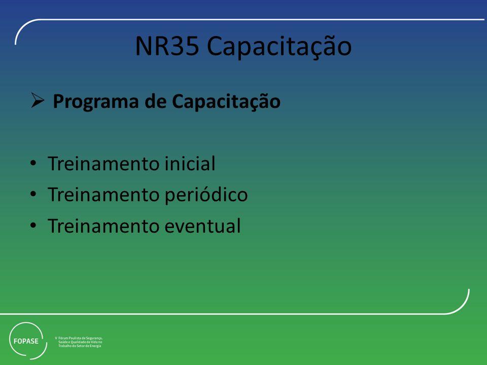 NR35 Capacitação Programa de Capacitação Treinamento inicial Treinamento periódico Treinamento eventual