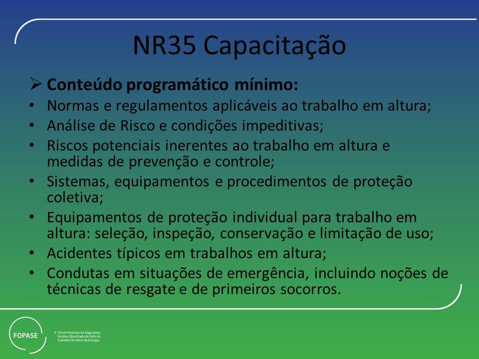 NR35 Capacitação Conteúdo programático mínimo: Normas e regulamentos aplicáveis ao trabalho em altura; Análise de Risco e condições impeditivas; Risco