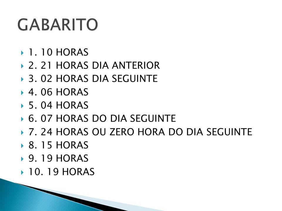 1.10 HORAS 2. 21 HORAS DIA ANTERIOR 3. 02 HORAS DIA SEGUINTE 4.