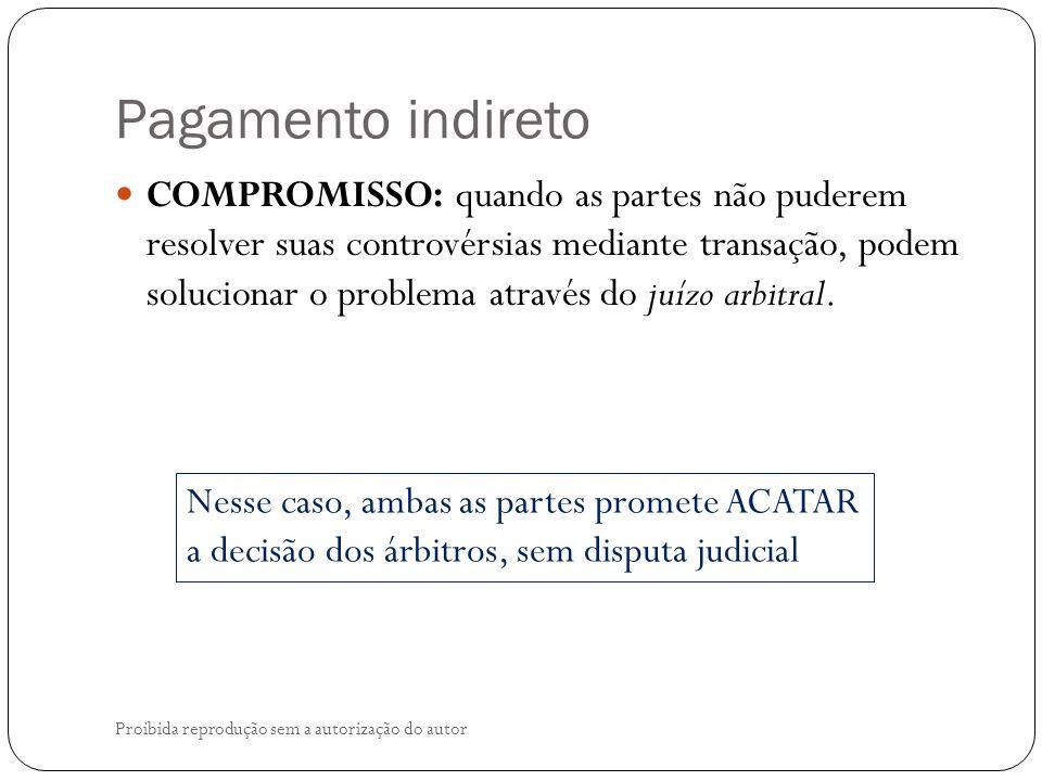 Pagamento indireto Proibida reprodução sem a autorização do autor COMPROMISSO: quando as partes não puderem resolver suas controvérsias mediante transação, podem solucionar o problema através do juízo arbitral.