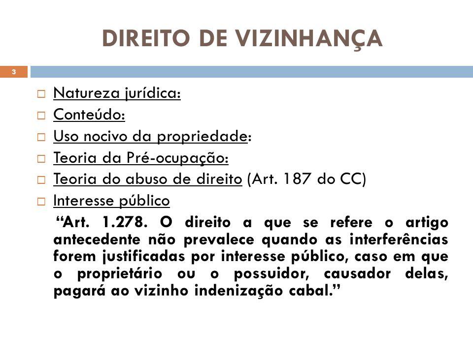 DIREITO DE VIZINHANÇA Natureza jurídica: Conteúdo: Uso nocivo da propriedade: Teoria da Pré-ocupação: Teoria do abuso de direito (Art. 187 do CC) Inte
