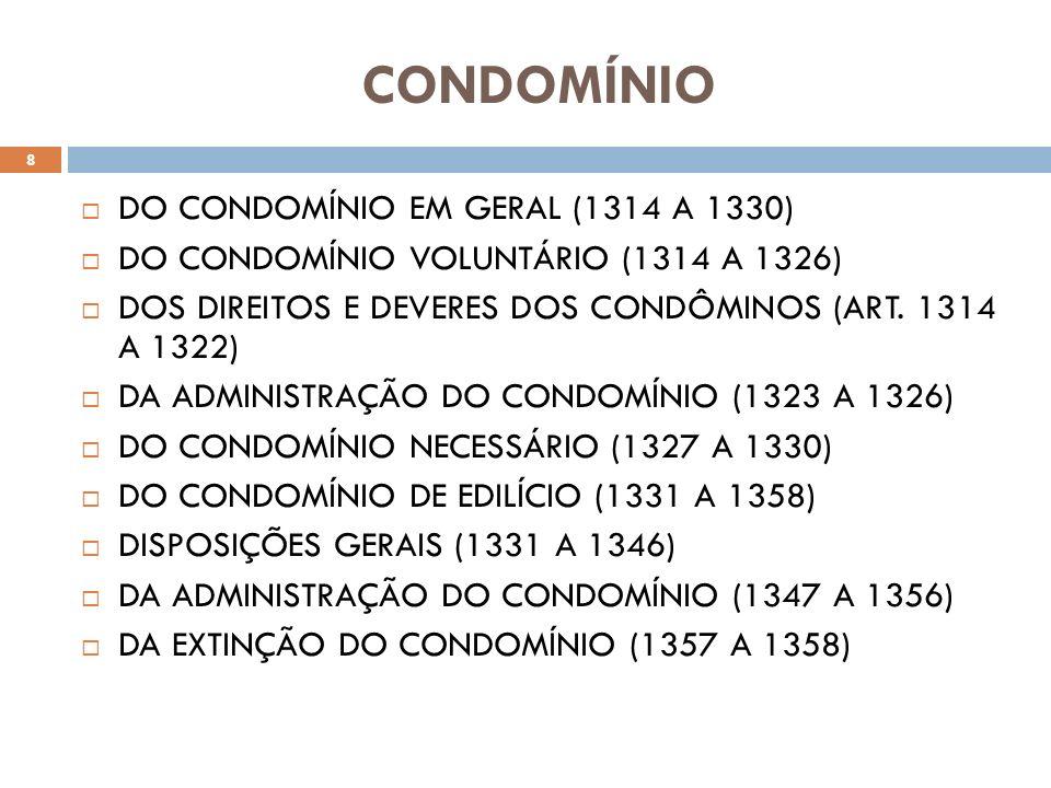 CONDOMÍNIO DO CONDOMÍNIO EM GERAL (1314 A 1330) DO CONDOMÍNIO VOLUNTÁRIO (1314 A 1326) DOS DIREITOS E DEVERES DOS CONDÔMINOS (ART. 1314 A 1322) DA ADM