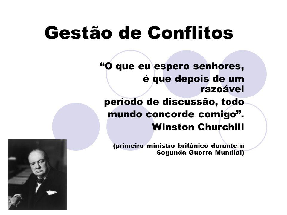 Gestão de Conflitos O que eu espero senhores, é que depois de um razoável período de discussão, todo mundo concorde comigo. Winston Churchill (primeir