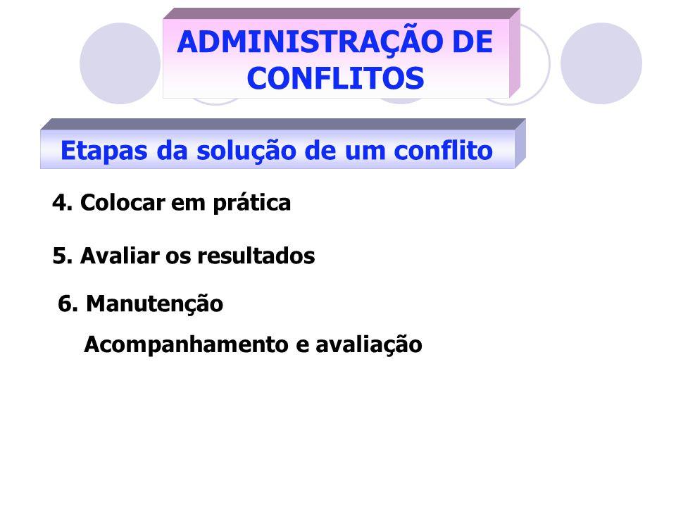 ADMINISTRAÇÃO DE CONFLITOS Etapas da solução de um conflito 4. Colocar em prática 5. Avaliar os resultados 6. Manutenção Acompanhamento e avaliação