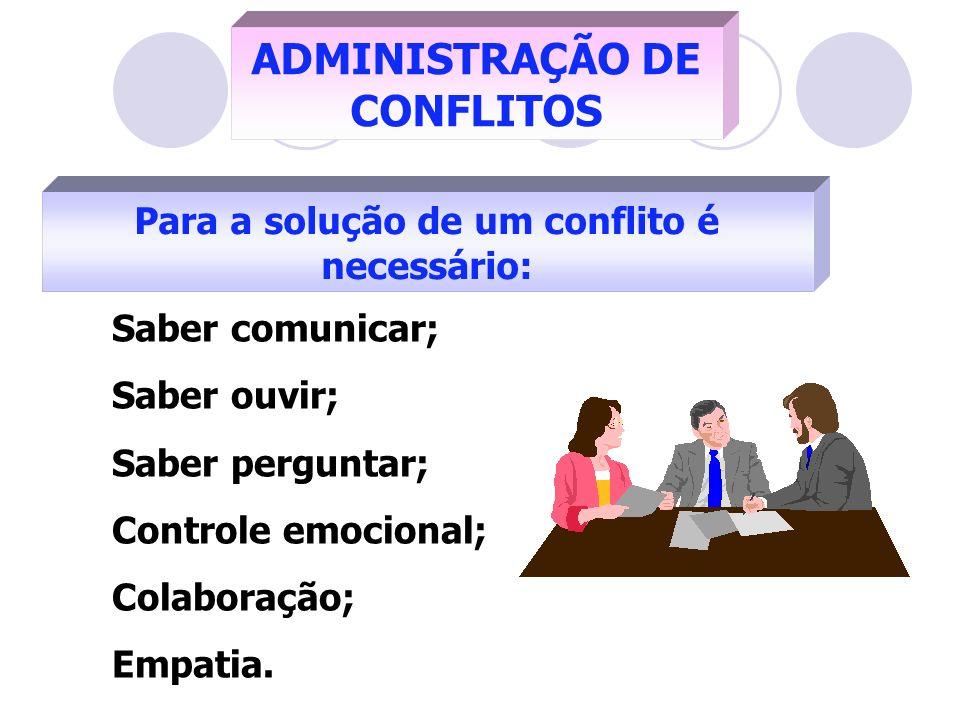 Para a solução de um conflito é necessário: ADMINISTRAÇÃO DE CONFLITOS Saber comunicar; Saber ouvir; Saber perguntar; Controle emocional; Colaboração;
