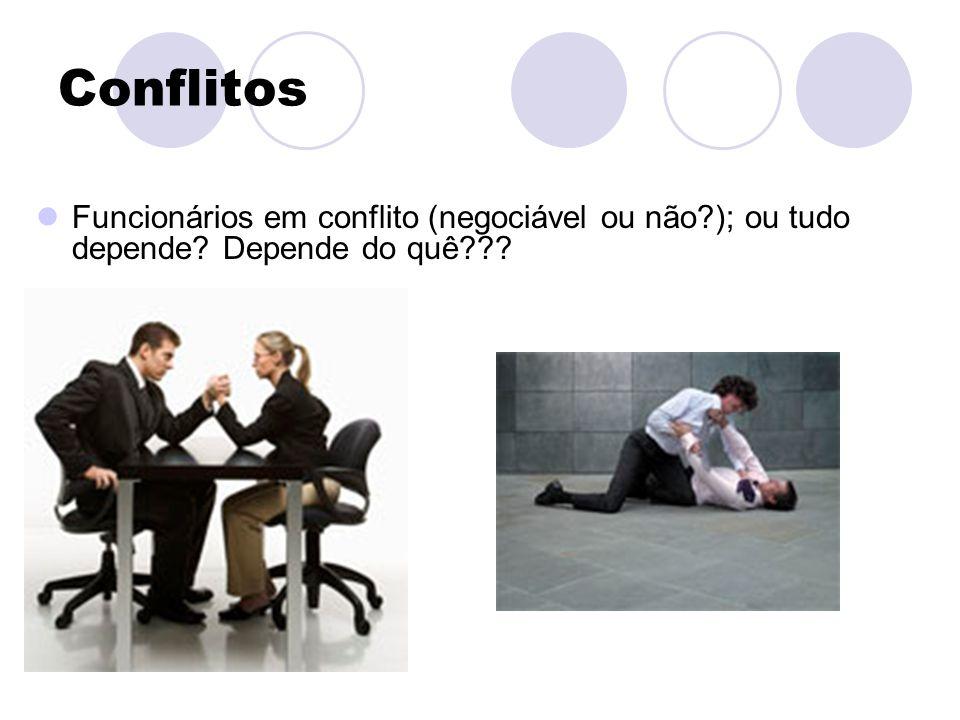 Conflitos Funcionários em conflito (negociável ou não?); ou tudo depende? Depende do quê???