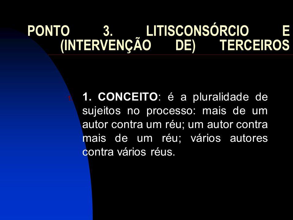 PONTO 3. LITISCONSÓRCIO E (INTERVENÇÃO DE) TERCEIROS 1. 1. CONCEITO: é a pluralidade de sujeitos no processo: mais de um autor contra um réu; um autor