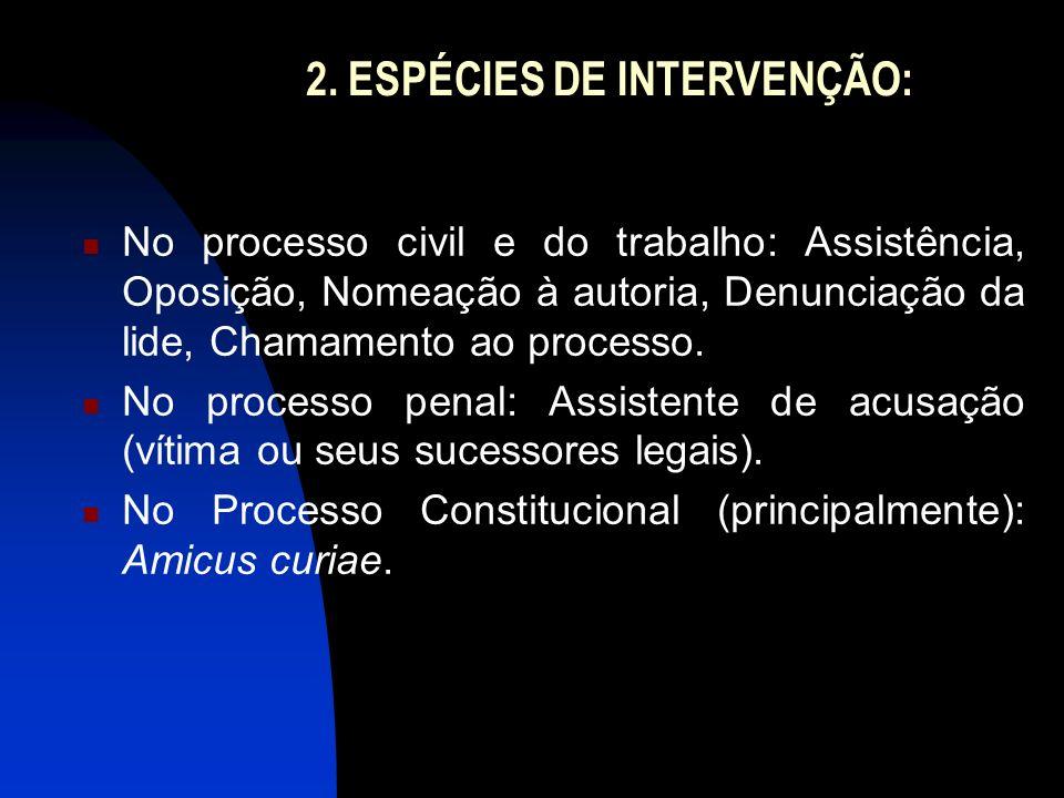 2. ESPÉCIES DE INTERVENÇÃO: No processo civil e do trabalho: Assistência, Oposição, Nomeação à autoria, Denunciação da lide, Chamamento ao processo. N