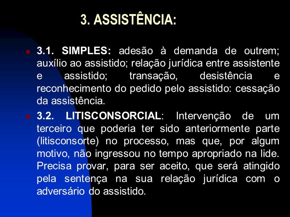 3. ASSISTÊNCIA: 3.1. SIMPLES: adesão à demanda de outrem; auxílio ao assistido; relação jurídica entre assistente e assistido; transação, desistência