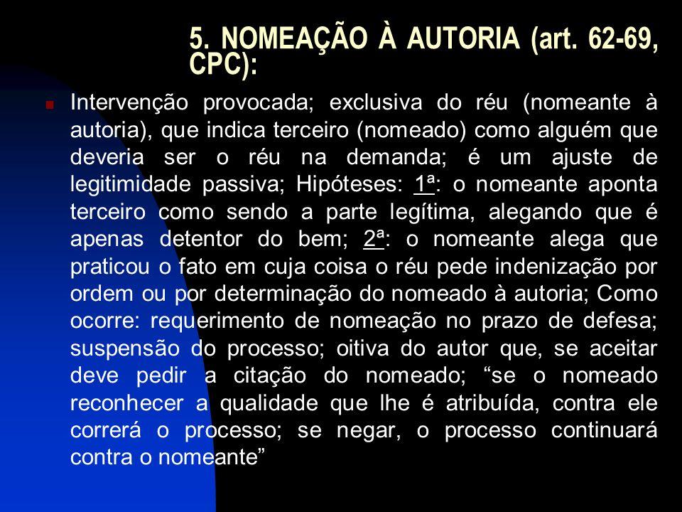 5. NOMEAÇÃO À AUTORIA (art. 62-69, CPC): Intervenção provocada; exclusiva do réu (nomeante à autoria), que indica terceiro (nomeado) como alguém que d
