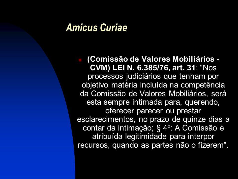 Amicus Curiae (Comissão de Valores Mobiliários - CVM) LEI N. 6.385/76, art. 31: Nos processos judiciários que tenham por objetivo matéria incluída na