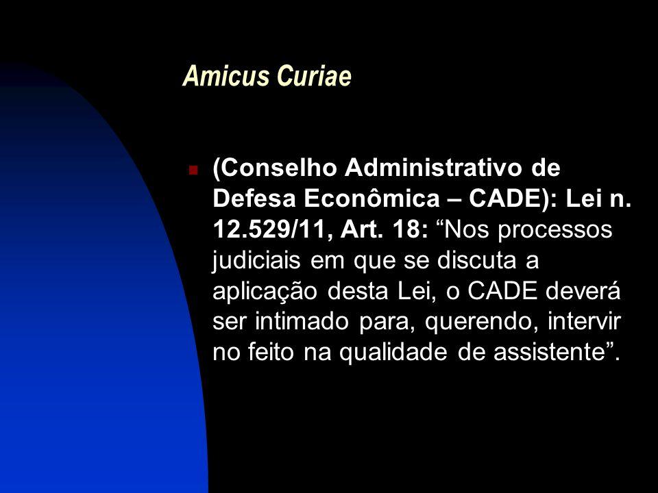 Amicus Curiae (Conselho Administrativo de Defesa Econômica – CADE): Lei n. 12.529/11, Art. 18: Nos processos judiciais em que se discuta a aplicação d