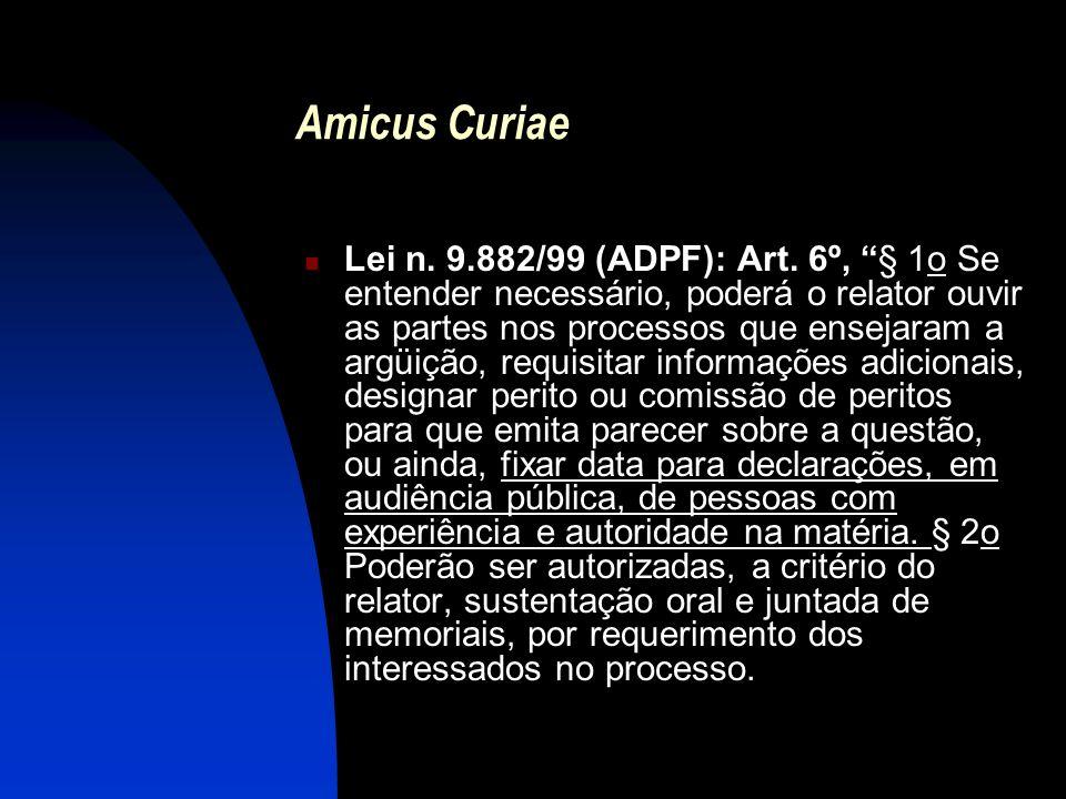Amicus Curiae Lei n. 9.882/99 (ADPF): Art. 6º, § 1o Se entender necessário, poderá o relator ouvir as partes nos processos que ensejaram a argüição, r