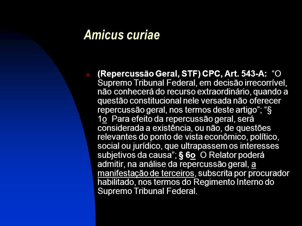 Amicus curiae (Repercussão Geral, STF) CPC, Art. 543-A: O Supremo Tribunal Federal, em decisão irrecorrível, não conhecerá do recurso extraordinário,