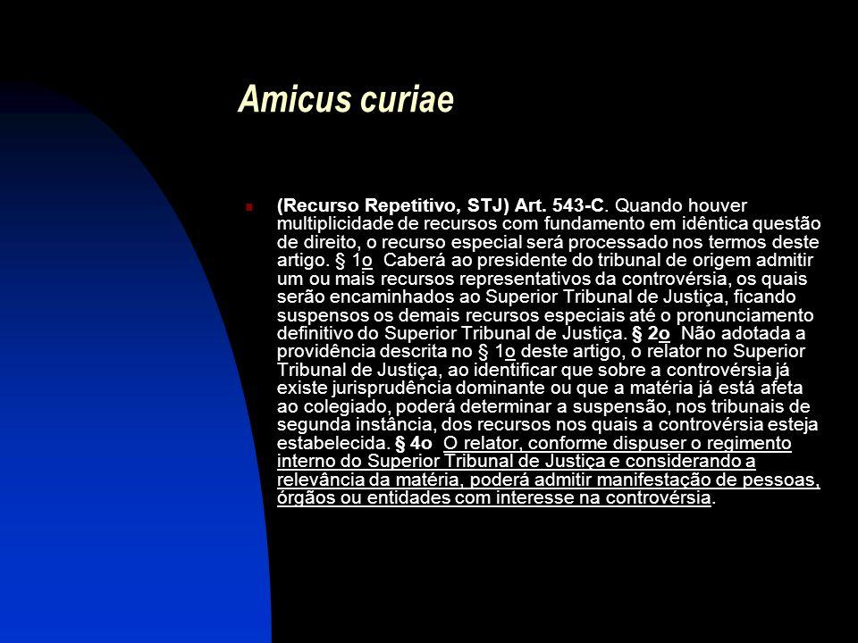 Amicus curiae (Recurso Repetitivo, STJ) Art. 543-C. Quando houver multiplicidade de recursos com fundamento em idêntica questão de direito, o recurso