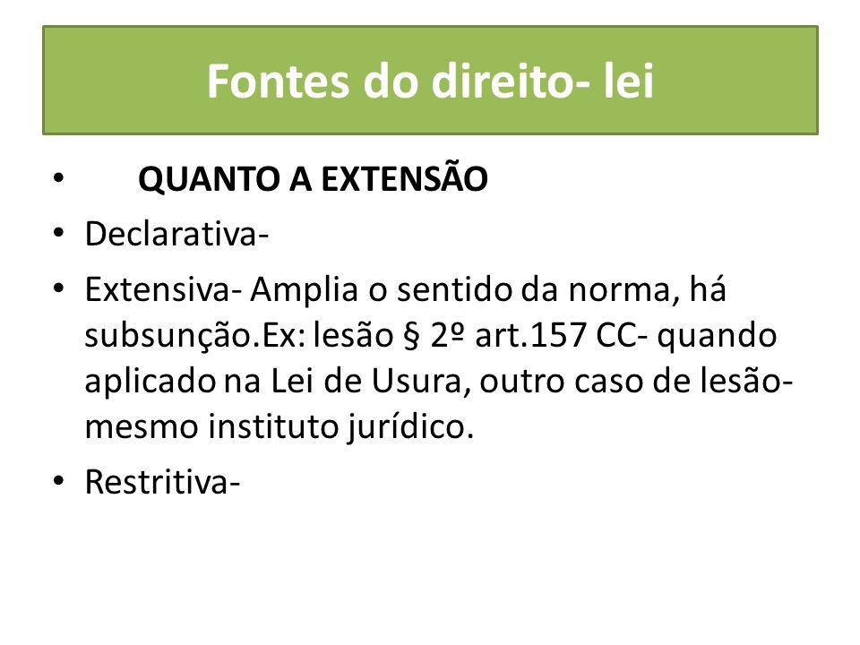 Fontes do direito- lei QUANTO A EXTENSÃO Declarativa- Extensiva- Amplia o sentido da norma, há subsunção.Ex: lesão § 2º art.157 CC- quando aplicado na