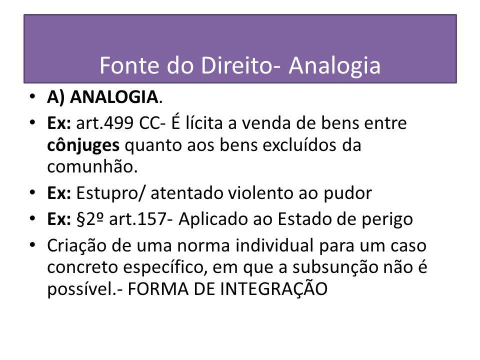Fonte do Direito- Analogia A) ANALOGIA. Ex: art.499 CC- É lícita a venda de bens entre cônjuges quanto aos bens excluídos da comunhão. Ex: Estupro/ at