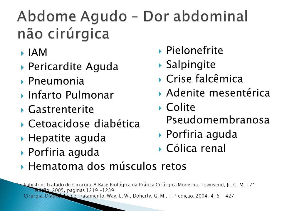 IAM Pericardite Aguda Pneumonia Infarto Pulmonar Gastrenterite Cetoacidose diabética Hepatite aguda Porfiria aguda Hematoma dos músculos retos Pielone