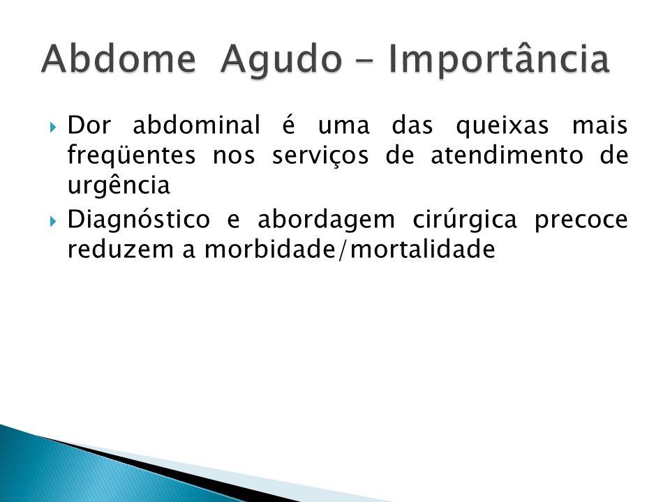 Dor abdominal é uma das queixas mais freqüentes nos serviços de atendimento de urgência Diagnóstico e abordagem cirúrgica precoce reduzem a morbidade/mortalidade